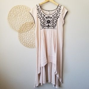 FREE PEOPLE Embroidered High-Low Cap Sleeve Dress